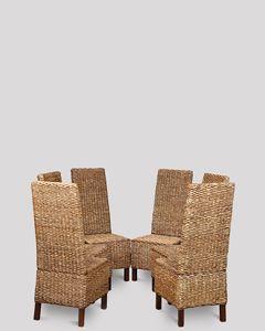 Set of 6 Rattan Croco Chairs
