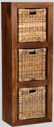 Dakota Triple Storage Cube with 3 Rattan Baskets