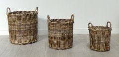 Kuba Round Rattan Log Basket