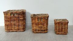 Square Rattan Log Baskets