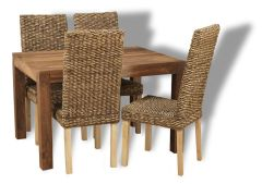 Small Cube Natural Dining Table & 4 Rattan Chairs