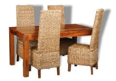 Cube Dining Table & 4 Rattan Dining Chairs