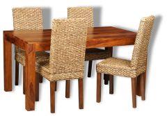 Cube Honey Medium Dining Table & 4 Rattan Dining Chairs