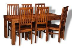 Large Cube Dining Table and 6 Cube Slat Chairs