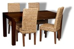 Mango 160cm Dining Table and 4 Rattan Dining Chairs