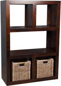 Mango Open Bookcase and Rattan Baskets
