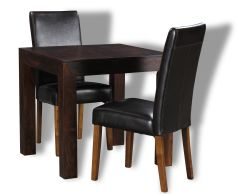 Mango 80cm Dining Table and 2 Leather Dining Chairs