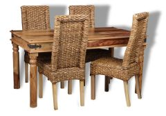 Jali Light 160cm Dining Table and 4 Rattan Dining Chairs