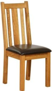 Atlanta Dining Chair with Chocoate Leather Seat & Vertical Slats