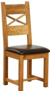 Atlanta Dining Chair with Chocolate Leather Seat Pad (cross back