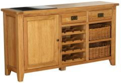 Atlanta 1 Door 2 Drawer 2 Basket Drawer Buffet with Wine Rack