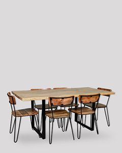Large Industrial Dining Table and 6 Light Vintage Chairs