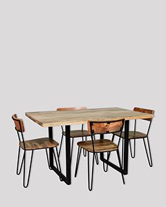 140cm Industrial Small Dining Table and 4 Light Vintage Chairs