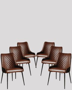 Set of 6 Henley Faux Leather Chairs