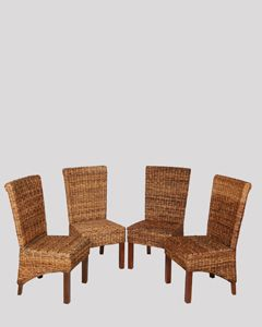 Set of 4 Rattan Rollback Chairs
