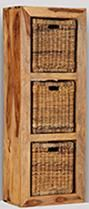 Cuba Light 3 Hole Storage Cube with Rattan Baskets