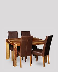 Small Cube Light Dining Table & 4 Barcelona Chairs