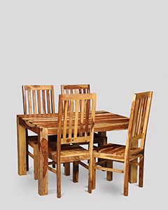 Small Cuba Light Dining Table & 4 Jali Chairs