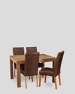 Small Cube Natural Dining Table & 4 Barcelona Chairs
