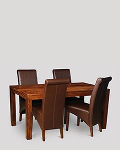 Cuba Dining Table & 4 Rollback Chairs