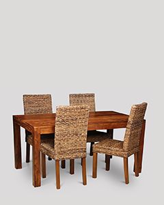 Cube Dining Table & 4 Rattan Chairs