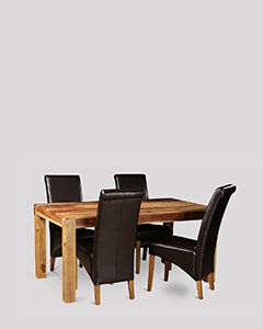 Cuba Light 120cm Dining Table & 4 Rollback Chairs