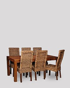 Large Cube Dining Table & 6 Rattan Chairs