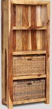 Cuba Light Bookcase With Rattan Baskets