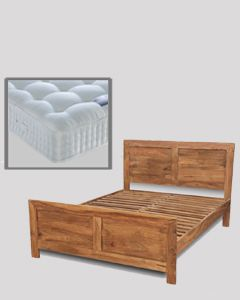 Cube Natural Double Bed with Mattress