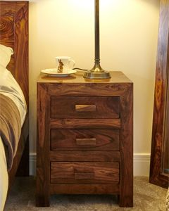 Cuba 3 Drawer Bedside Table