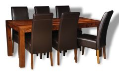 Cube Honey Large Dining Table & 6 Madrid Chairs