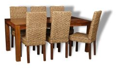 Large Cube Dining Table & 6 Rattan Dining Chairs