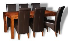 Large Cube Dining Table & 6 Rollback Dining Chairs
