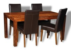 Cube Honey Medium Dining Table & 4 Barcelona Chairs