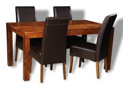 Cube Honey Medium Dining Table & 4 Madrid Chairs