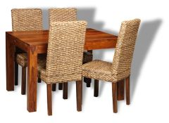 Small Cube Dining Table & 4 Rattan Dining Chairs
