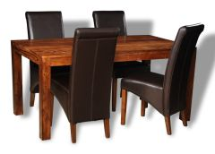 Cube Honey Medium Dining Table & 4 Rollback Chairs