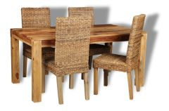 Cube Light Dining Table & 4 Rattan Chairs