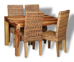 Small Cube Light Dining Table & 4 Rattan Chairs