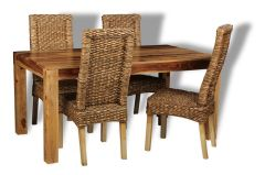 Cube Light Dining Table & 4 Rattan Dining Chairs