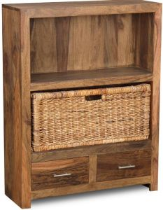 Cube Natural 2 Drawer Bookcase With Rattan Basket