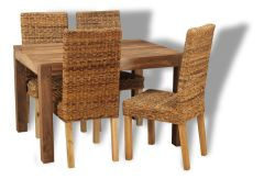 Small Cube Natural Dining Table & 4 Havana Chairs