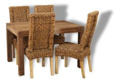 Cube Natural Medium Table & 4 Rattan Chairs