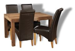 Cube Natural Medium Table & 4 Rollback Chairs