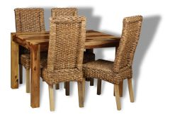 Small Cube Light Dining Table & 4 Rattan Dining Chairs