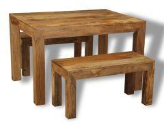 Light Dakota 120cm Dining Table & 2 Dakota Benches