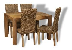 Light Dakota 120cm Dining Table & 4 Rattan Dining Chairs