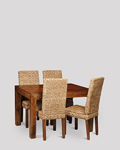 Dakota 120cm Dining Table & 4 Rattan Chairs