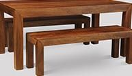 Dakota Light 180cm Dining Table & 2 Large Benches