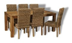 Dakota Light 180cm Dining Table & 6 Rattan Dining Chairs